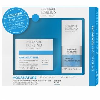 Annemarie Börlind - Aquanature System Hydro - Set Hydratačný nočný krém + 2 fázový hyalurónový shake 15 ml Gratis