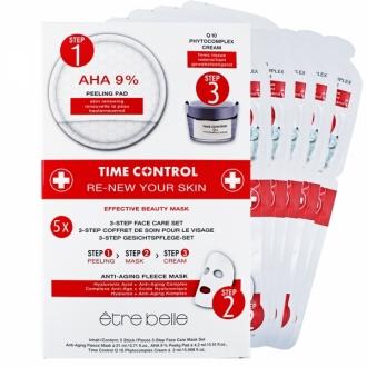 Être Belle - Time Control renew your skin fleece mask 5 ks - obnovujúca anti age flísová maska 5 ks v balení